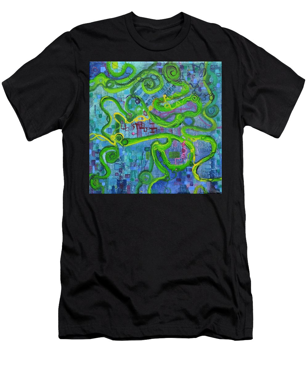 Polymer Men's T-Shirt (Athletic Fit) featuring the painting Contour by Regina Valluzzi