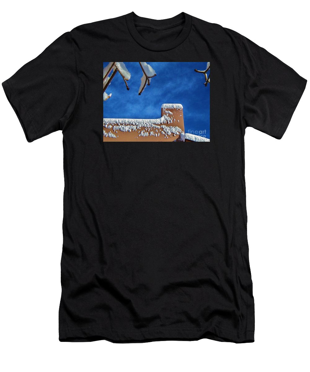 Blue Skies Men's T-Shirt (Athletic Fit) featuring the photograph Contrast After The Snow by Diana Dearen