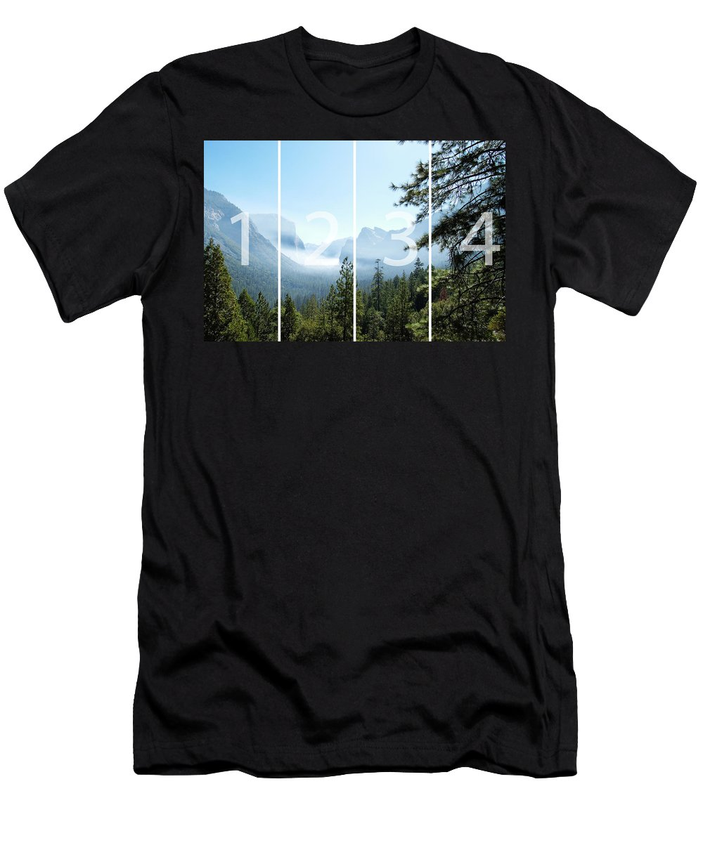 El Capitan Men's T-Shirt (Athletic Fit) featuring the digital art Controlled Burn Of Yosemite Panoramic Map by Michael Bessler