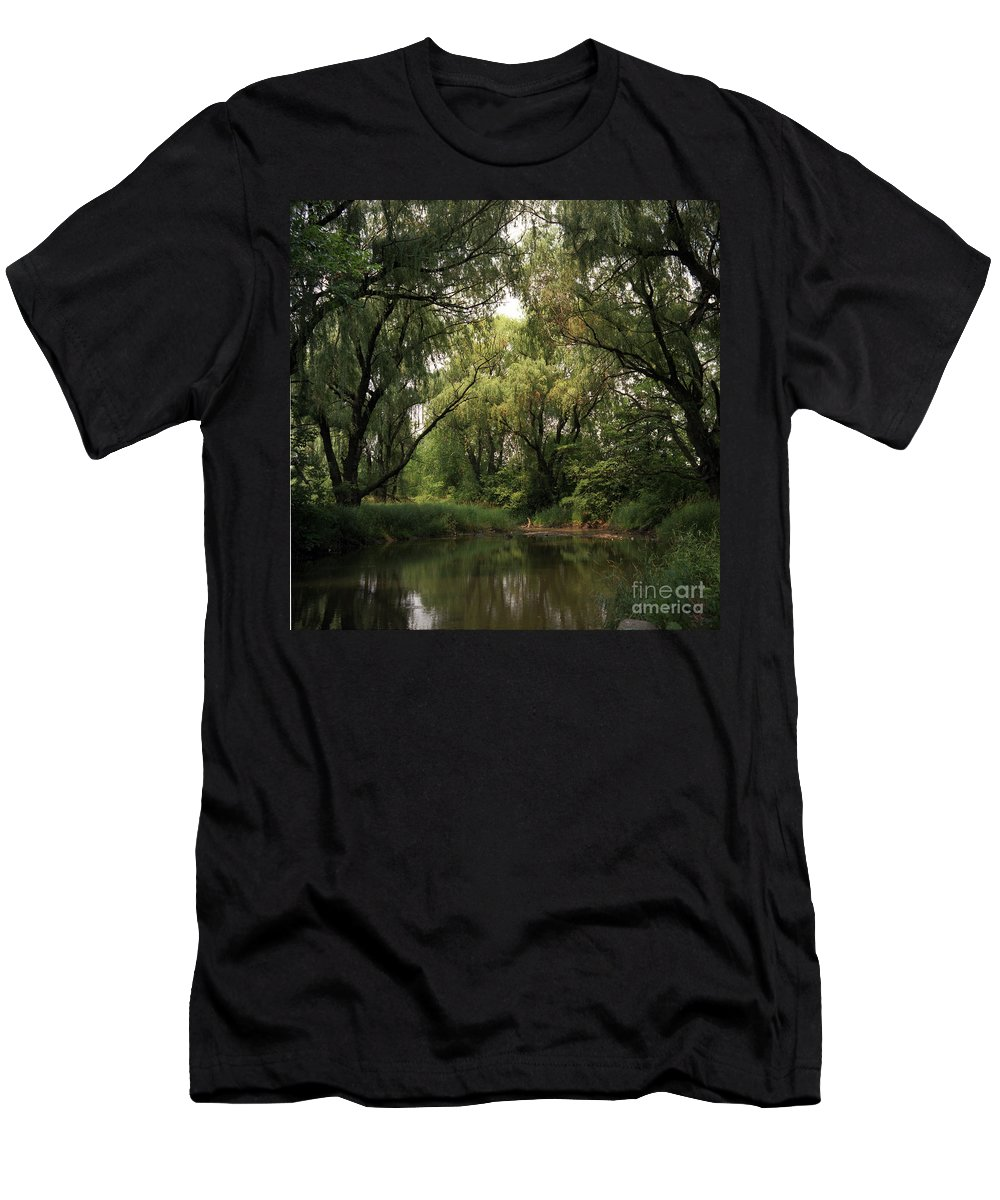 Rivers Men's T-Shirt (Athletic Fit) featuring the photograph Cook County Forest Preserve No 6 by Kathy McClure