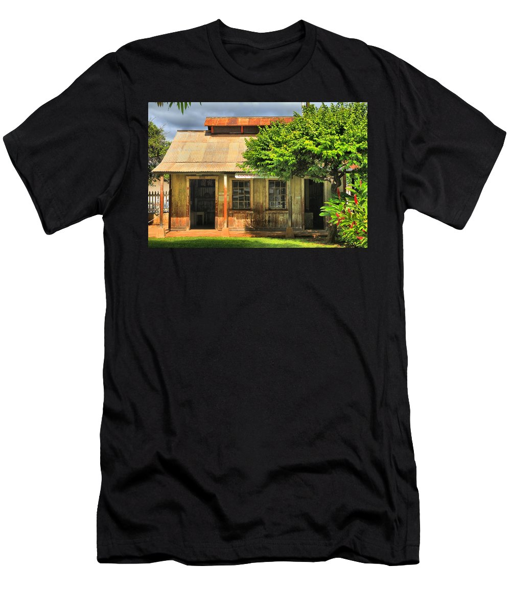 Lahaina Men's T-Shirt (Athletic Fit) featuring the photograph Cookhouse Theater Lahaina by DJ Florek
