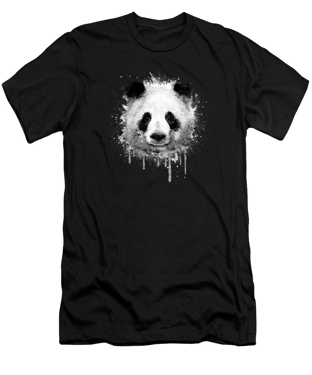 Panda T-Shirt featuring the digital art Cool Abstract Graffiti Watercolor Panda Portrait in Black and White by Philipp Rietz