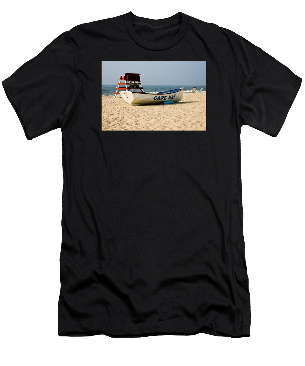 Beach Men's T-Shirt (Athletic Fit) featuring the photograph Cool Cape May Beach by Louis Dallara