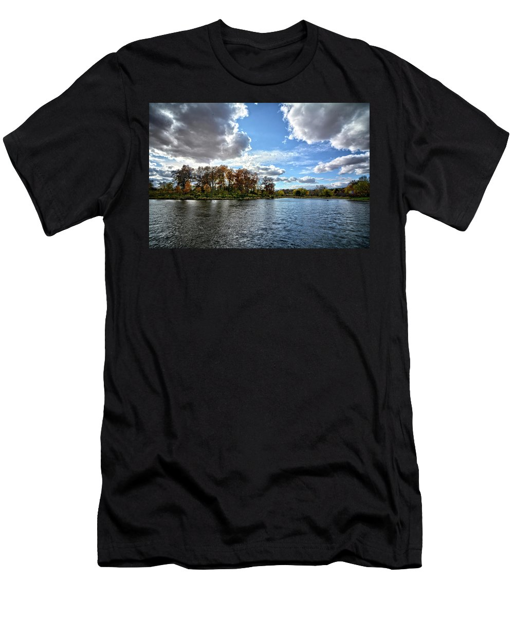 Clouds Men's T-Shirt (Athletic Fit) featuring the photograph Cooler Days by Bonfire Photography