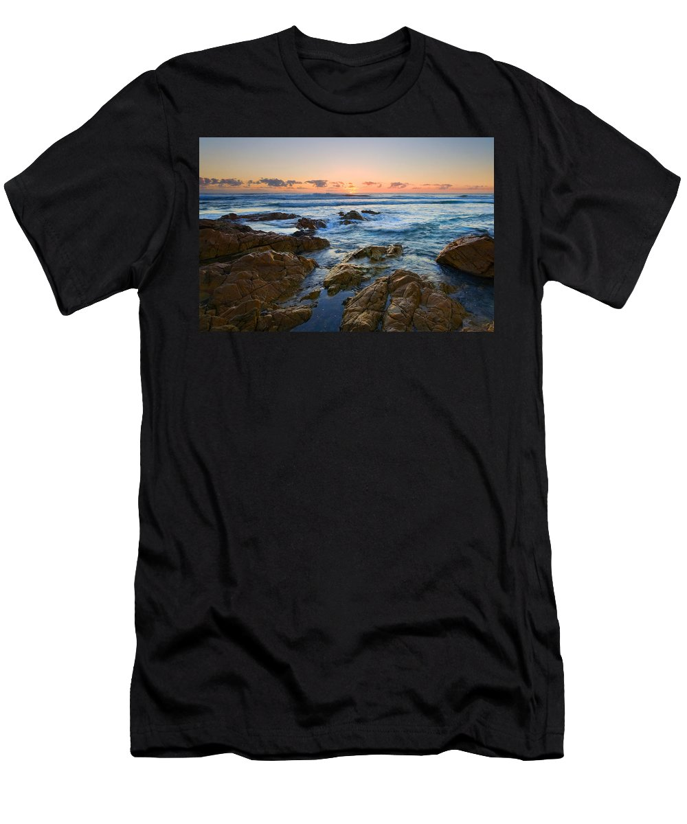 Seascape Men's T-Shirt (Athletic Fit) featuring the photograph Coolum Dawn by Mike Dawson