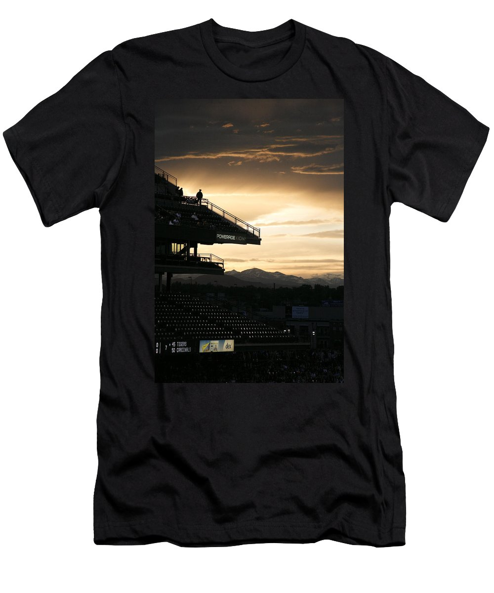 Americana Men's T-Shirt (Athletic Fit) featuring the photograph Coors Field At Sunset by Marilyn Hunt