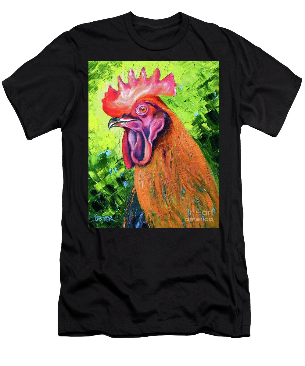 Rooster Men's T-Shirt (Athletic Fit) featuring the painting Copper Maran French Rooster by Susan A Becker