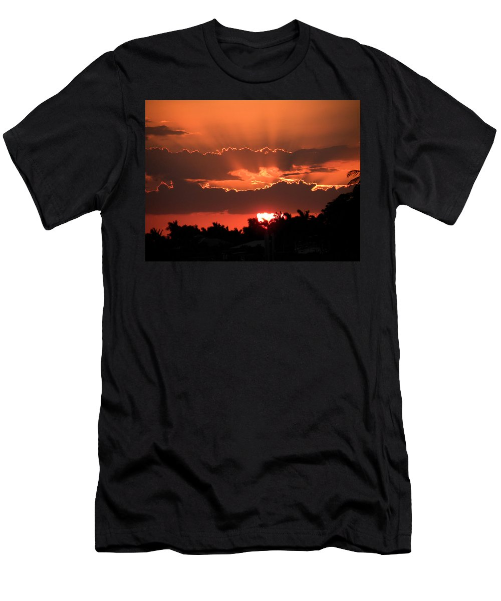 Sunset Men's T-Shirt (Athletic Fit) featuring the photograph Copper Sunset by Rosalie Scanlon