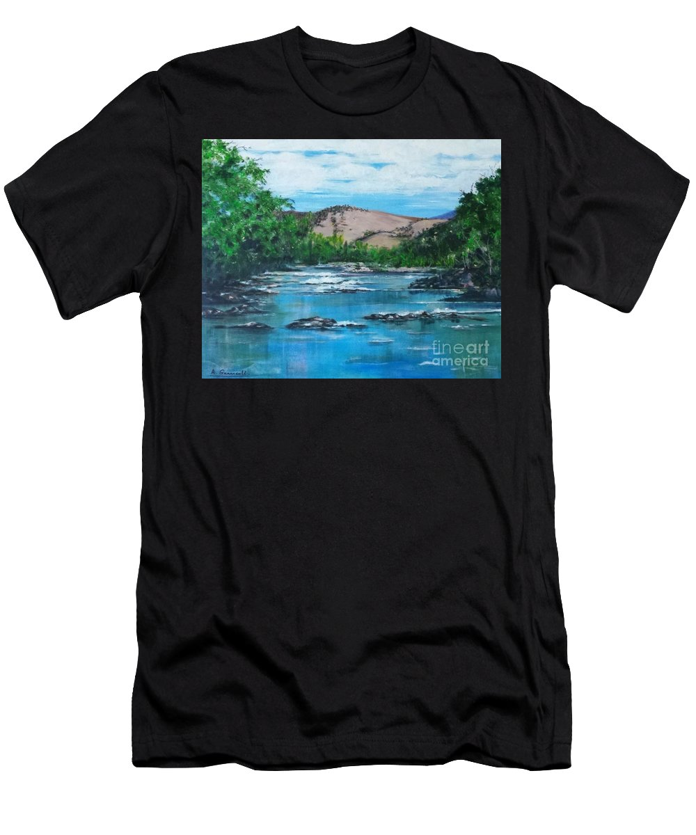 Coppins Crossing Act Australia Men's T-Shirt (Athletic Fit) featuring the painting Coppins Crossing, Act, Australia by Angela Gannicott