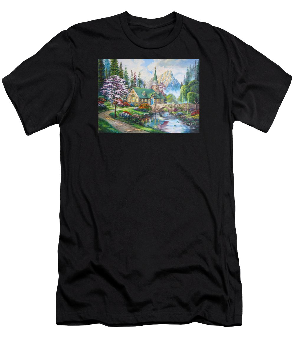 Dogwood Chapel Men's T-Shirt (Athletic Fit) featuring the painting copy of Dogwood Chapel by Elena Yalcin