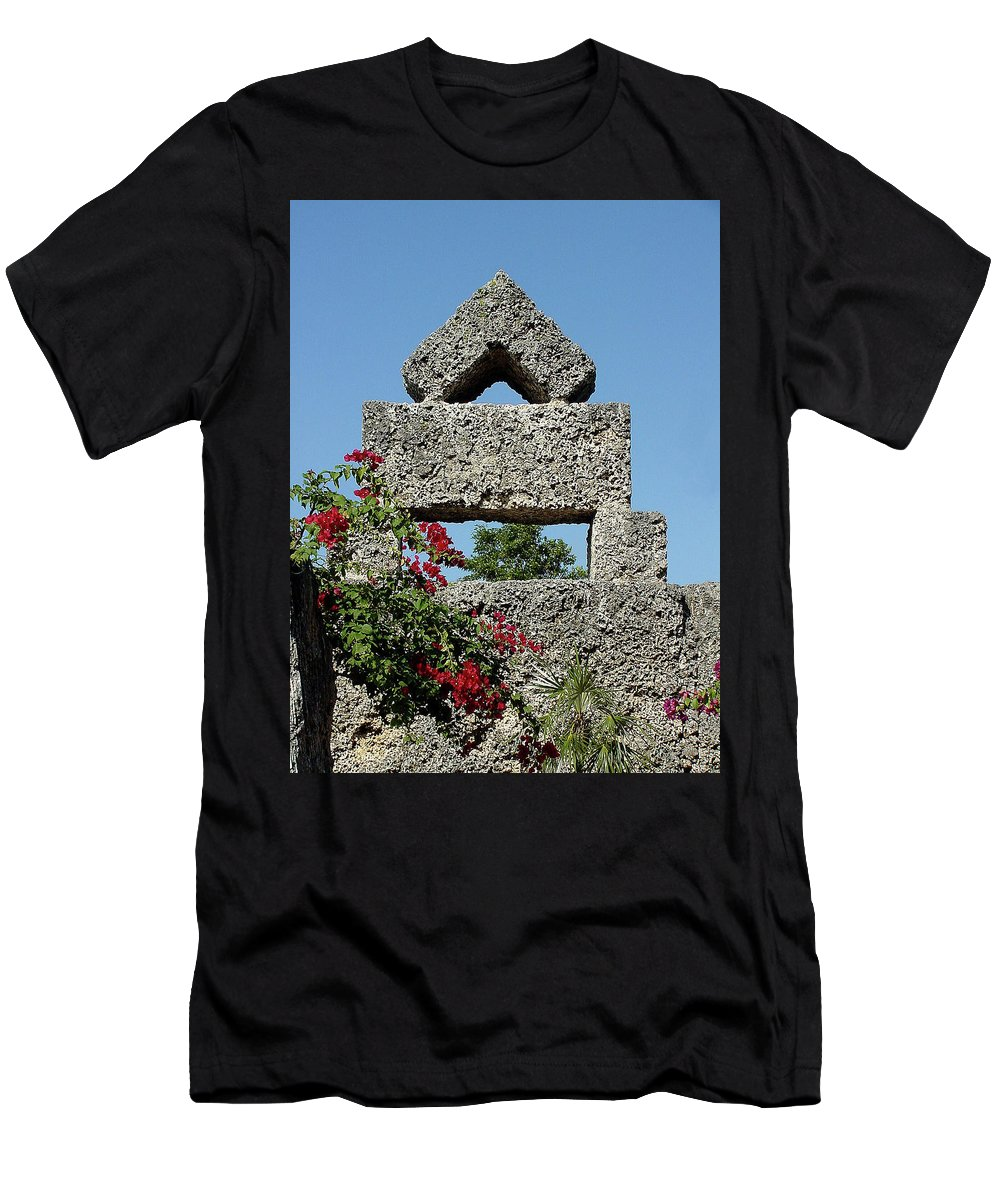 Sunlight Men's T-Shirt (Athletic Fit) featuring the photograph Coral Castle For Love by Shirley Heyn