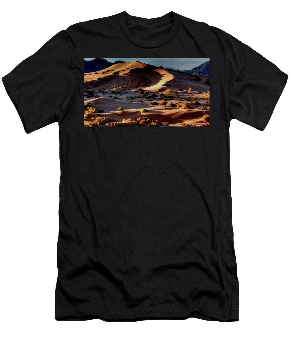 Men's T-Shirt (Athletic Fit) featuring the photograph Coral Pink Sand Dunes Dawn by Ron Smith