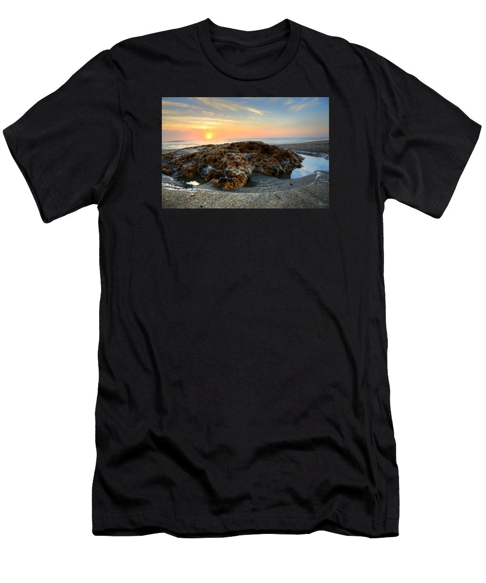 Sea Men's T-Shirt (Athletic Fit) featuring the photograph Coral Rock by William Teed