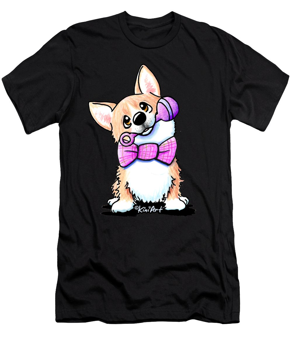 Corgi T-Shirt featuring the drawing Corgi Ready For Baby by Kim Niles