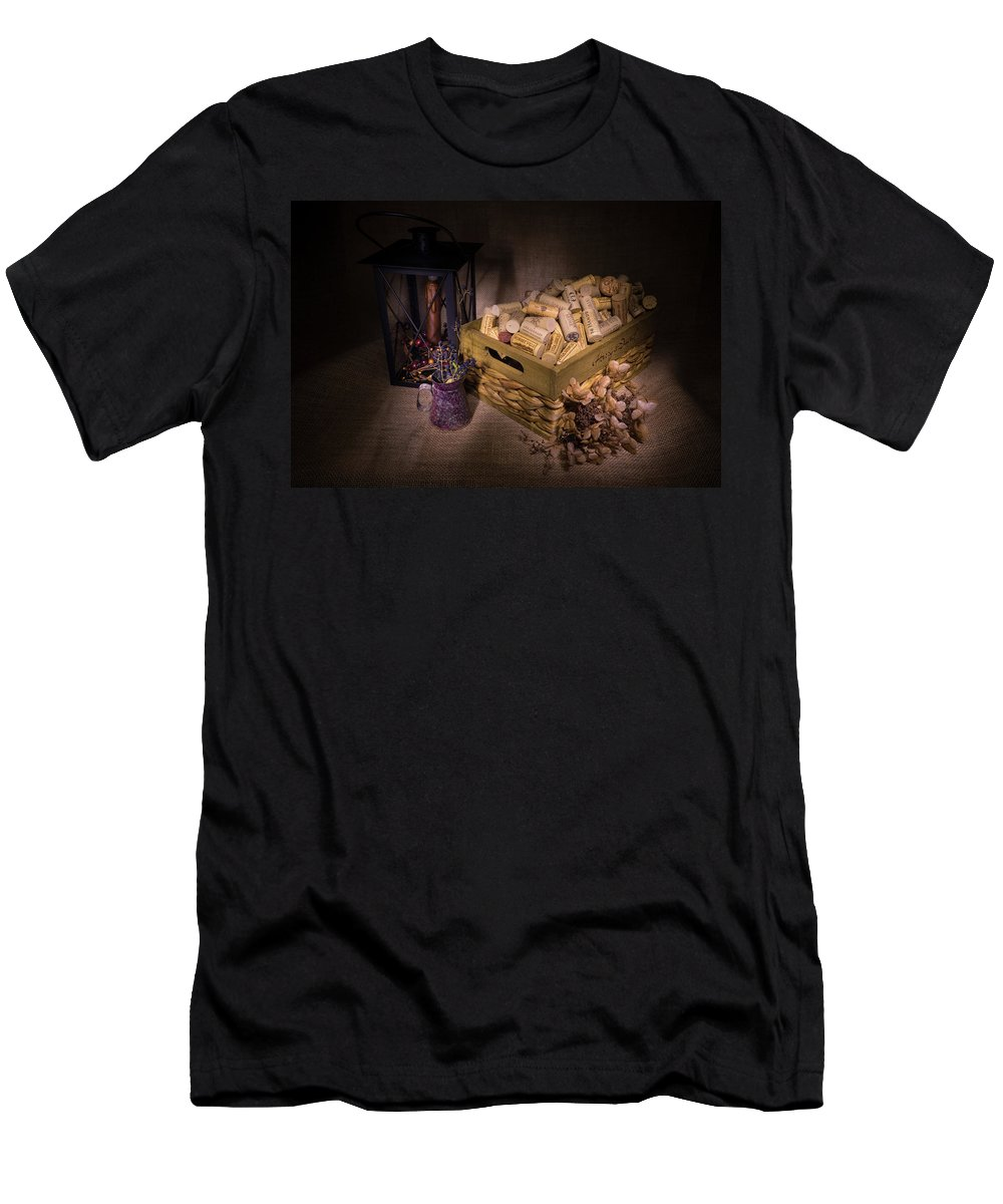 Cork Men's T-Shirt (Athletic Fit) featuring the photograph Cork And Basket And Lamp by Douglas Barnett