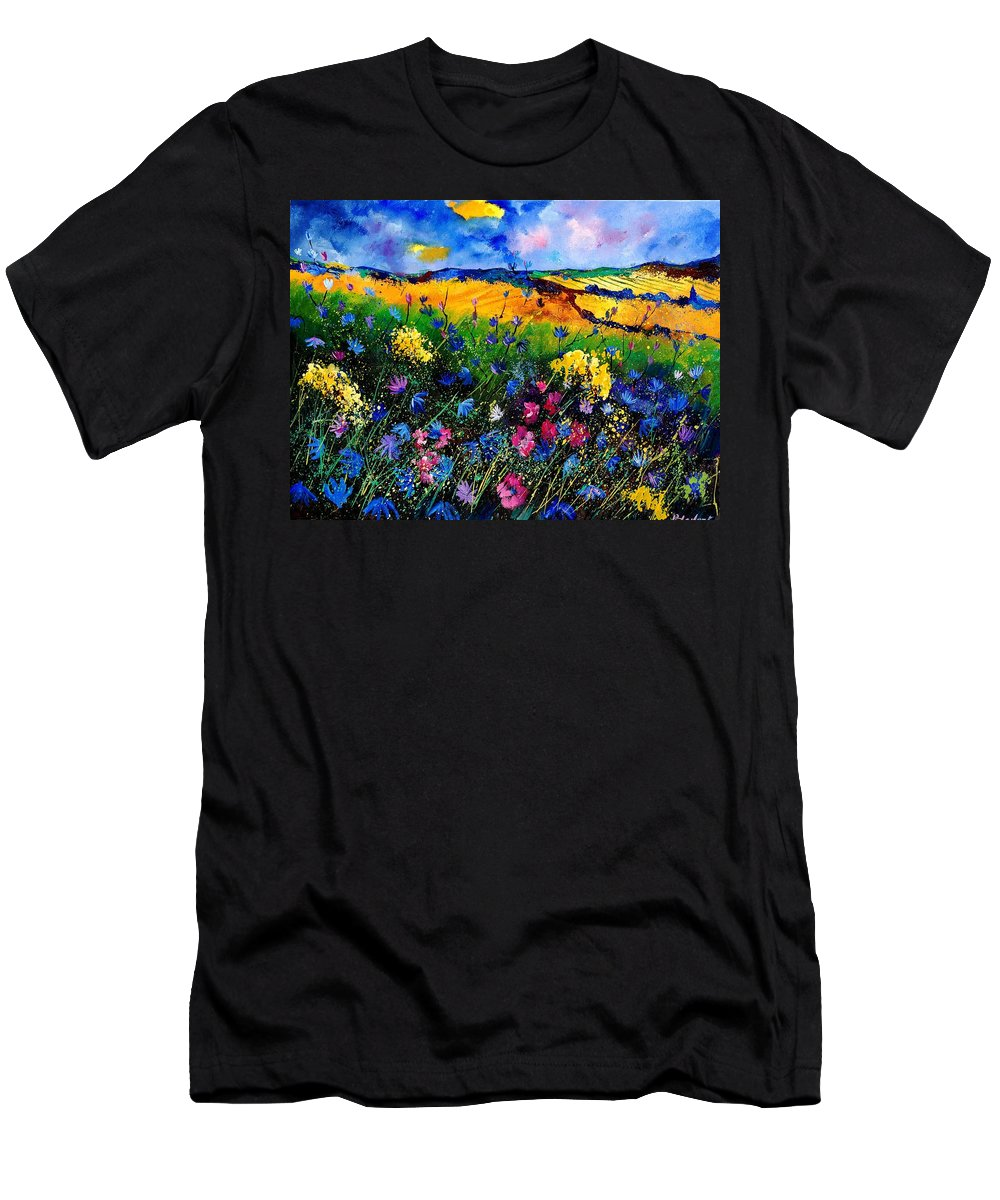 Flowers Men's T-Shirt (Athletic Fit) featuring the painting Cornflowers 680808 by Pol Ledent