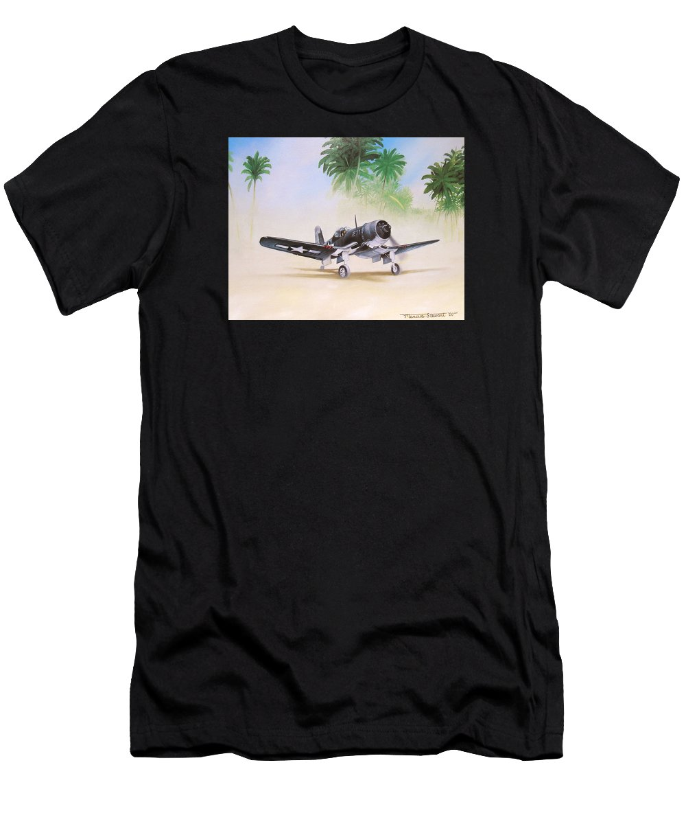 Aviation Men's T-Shirt (Athletic Fit) featuring the painting Corsair Preflight by Marc Stewart
