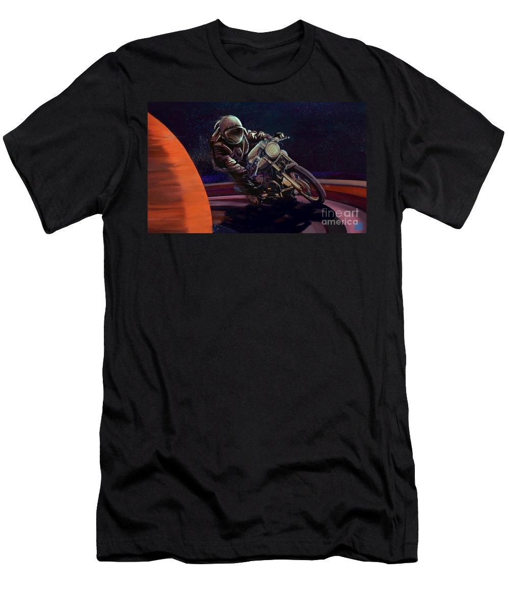 Cafe Racer Men's T-Shirt (Athletic Fit) featuring the painting Cosmic Cafe Racer by Sassan Filsoof