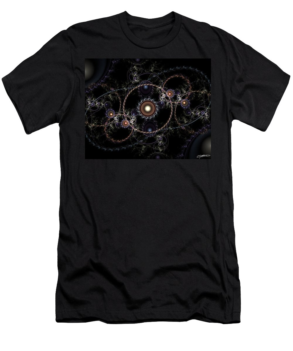 Abstract Men's T-Shirt (Athletic Fit) featuring the digital art Cosmic Clockworks by Casey Kotas