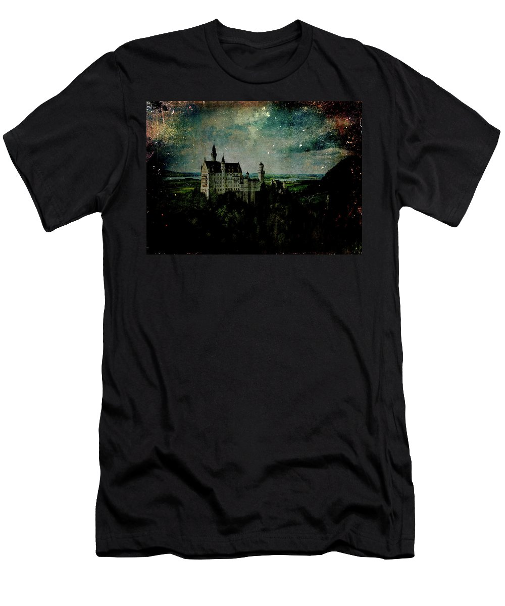 Castle Men's T-Shirt (Athletic Fit) featuring the digital art Cosmic Collision by Sarah Vernon