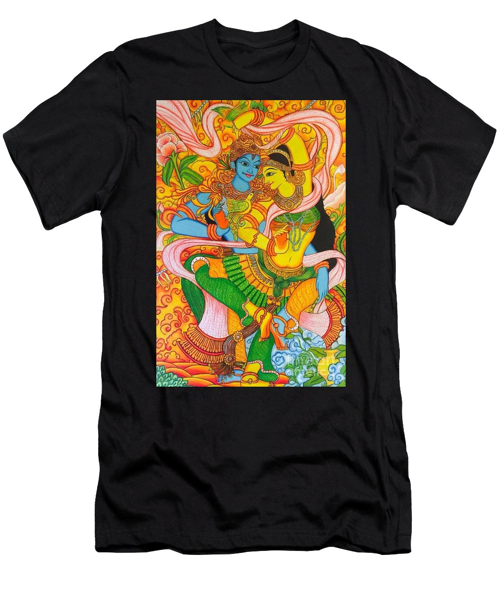 Kerala Mural Men's T-Shirt (Athletic Fit) featuring the drawing Cosmic Dance Of Krsna by Sukkanya Ramanathan