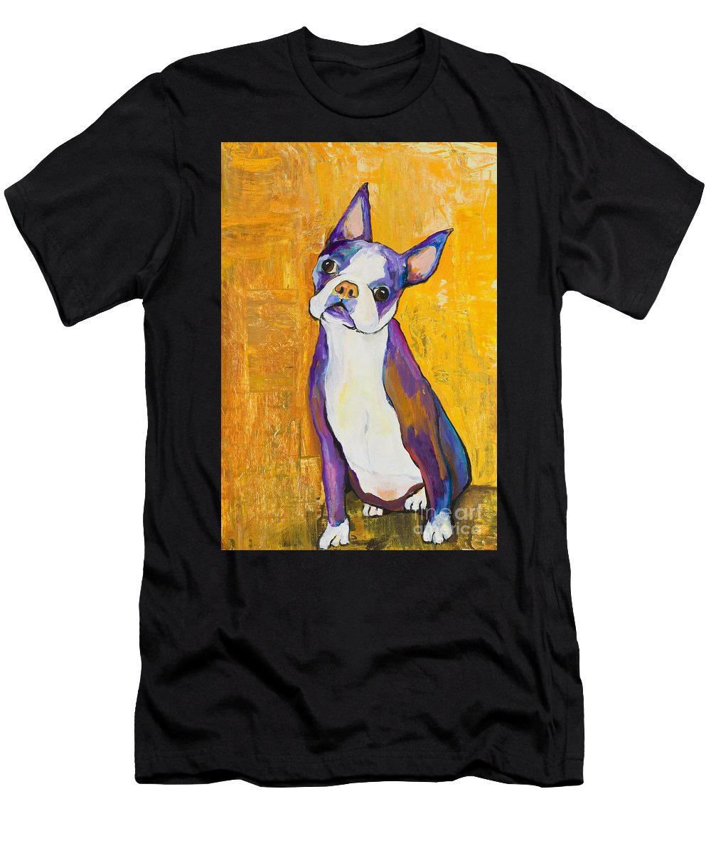 Boston Terrier Animals Acrylic Dog Portraits Pet Portraits Animal Portraits Pat Saunders-white Men's T-Shirt (Athletic Fit) featuring the painting Cosmo by Pat Saunders-White