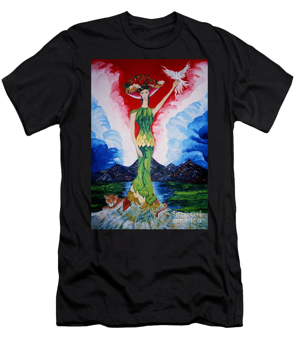 El Artista Refleja Sus Origenes: Esa Costa Rica Orgullosa De Su Gran Riqueza Men's T-Shirt (Athletic Fit) featuring the painting Costa Rica by David Alvarado