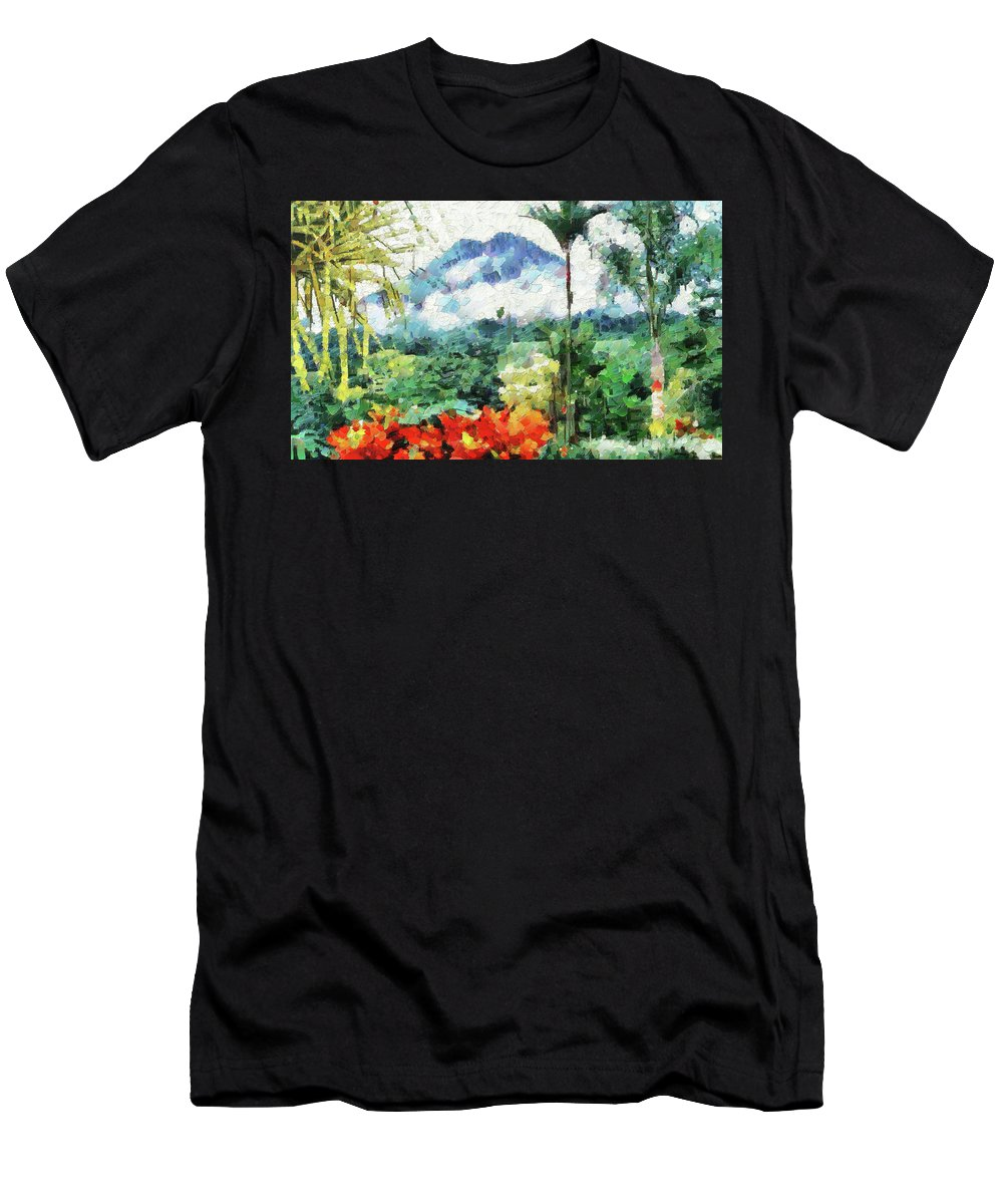 Digital Painting Men's T-Shirt (Athletic Fit) featuring the photograph Costa Rica Paradise by Mario Carini