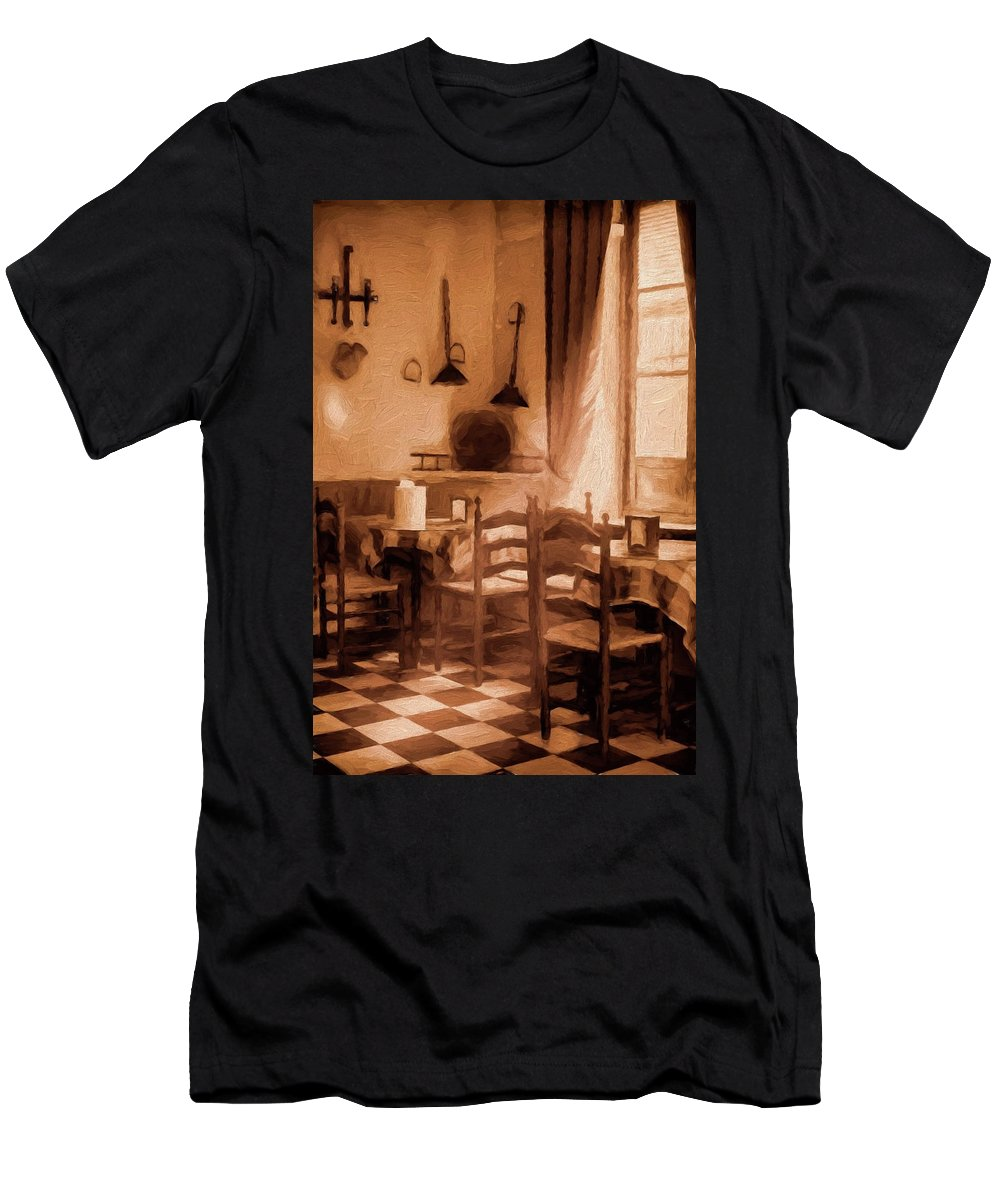 Cafe Men's T-Shirt (Athletic Fit) featuring the photograph Cosy Corner by Peter Hayward Photographer