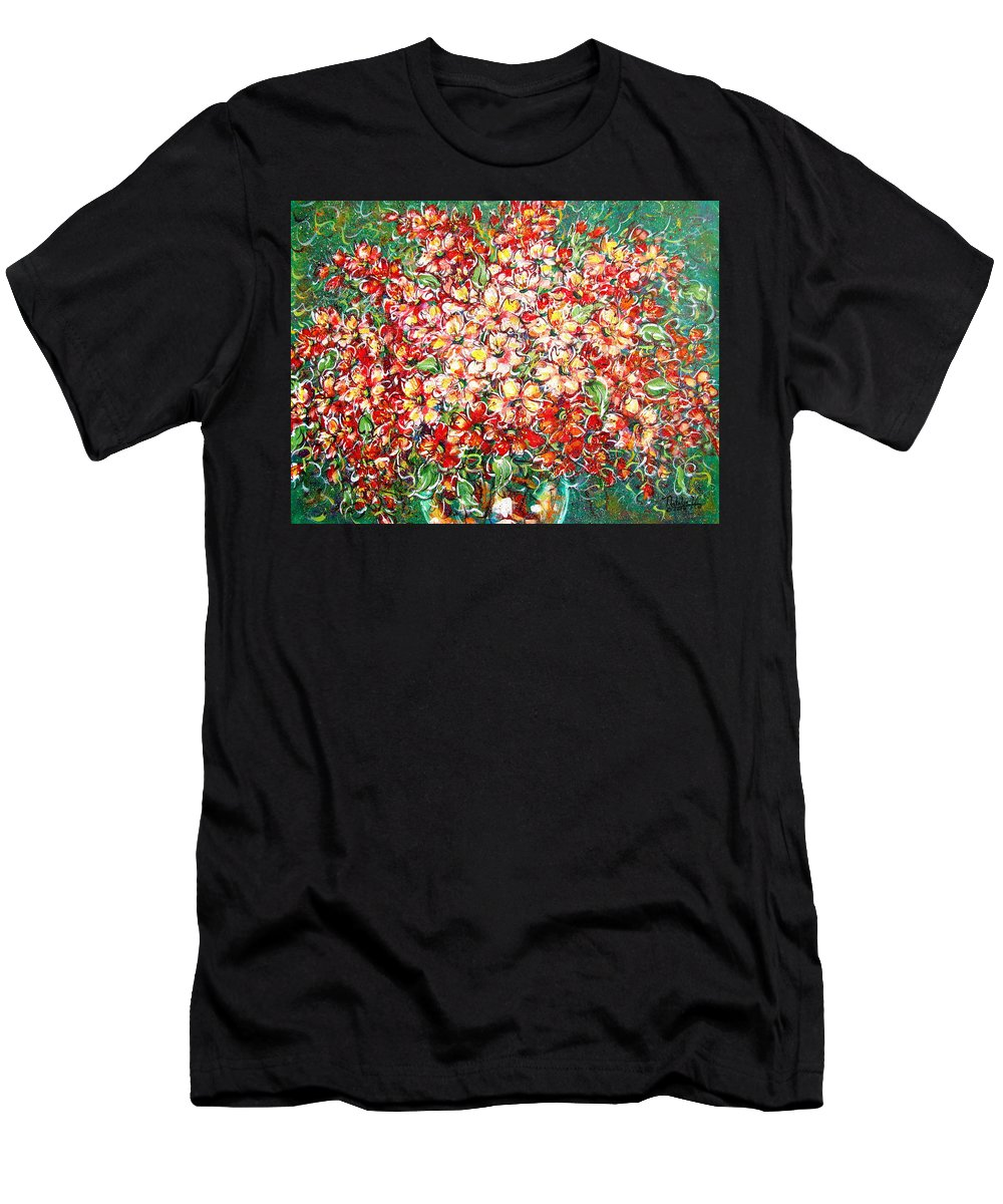 Flowers Men's T-Shirt (Athletic Fit) featuring the painting Cottage Garden Flowers by Natalie Holland