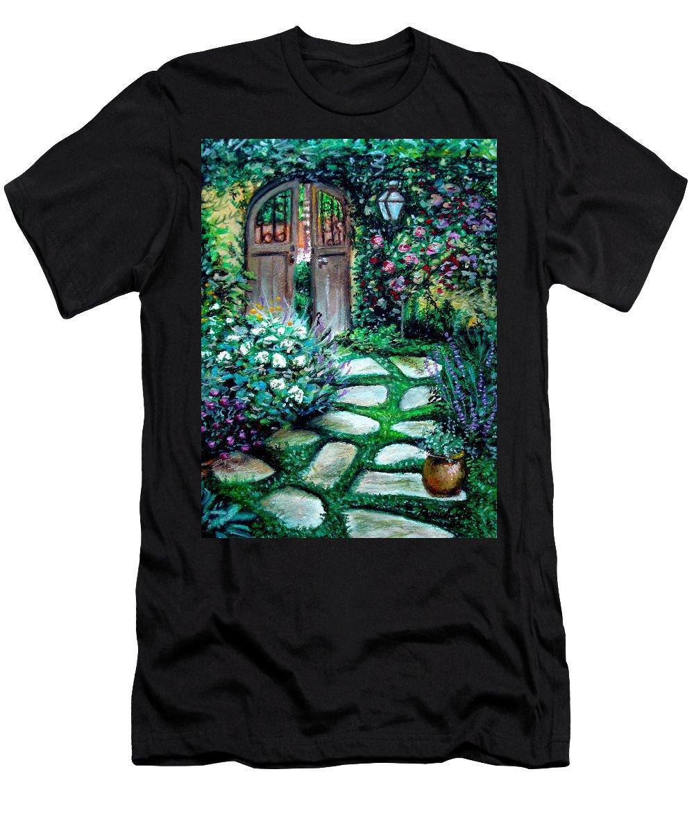 Landscape Men's T-Shirt (Athletic Fit) featuring the pastel Cottage Gates by Elizabeth Robinette Tyndall