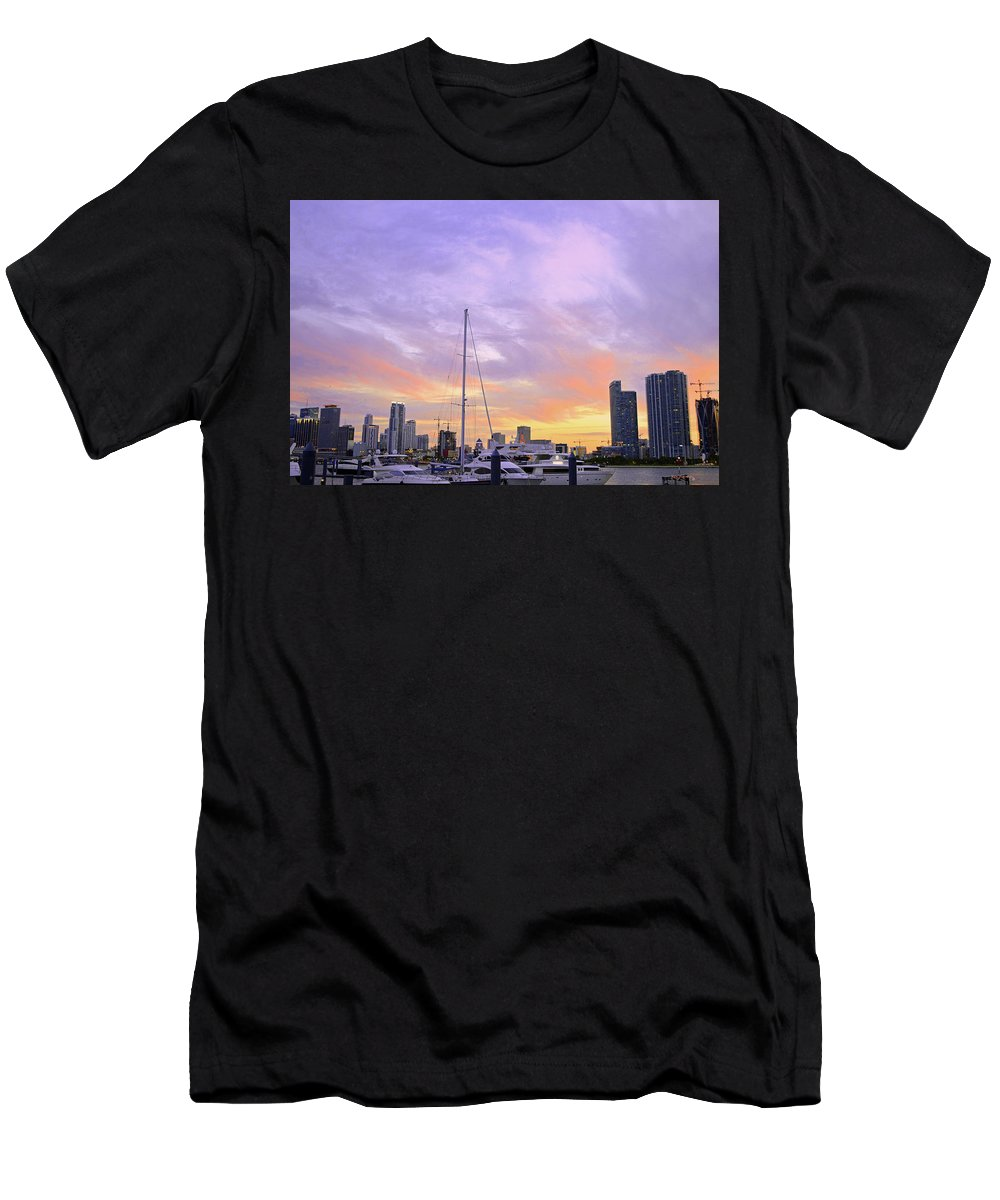 Delray Men's T-Shirt (Athletic Fit) featuring the photograph Cotton Candy Sunset Over Miami by Ken Figurski