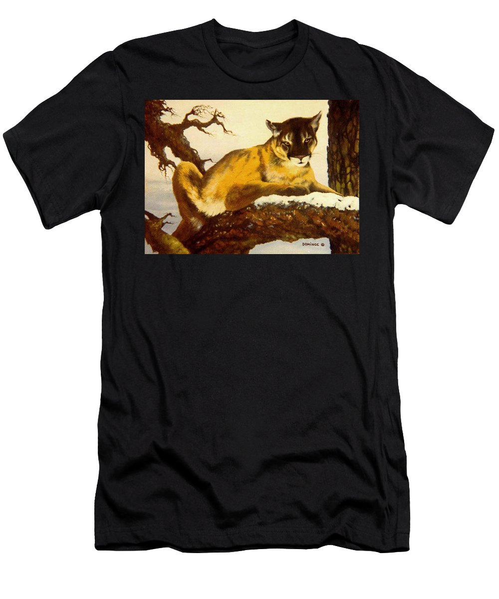 Cougar Men's T-Shirt (Athletic Fit) featuring the painting Cougar by John A Dominge