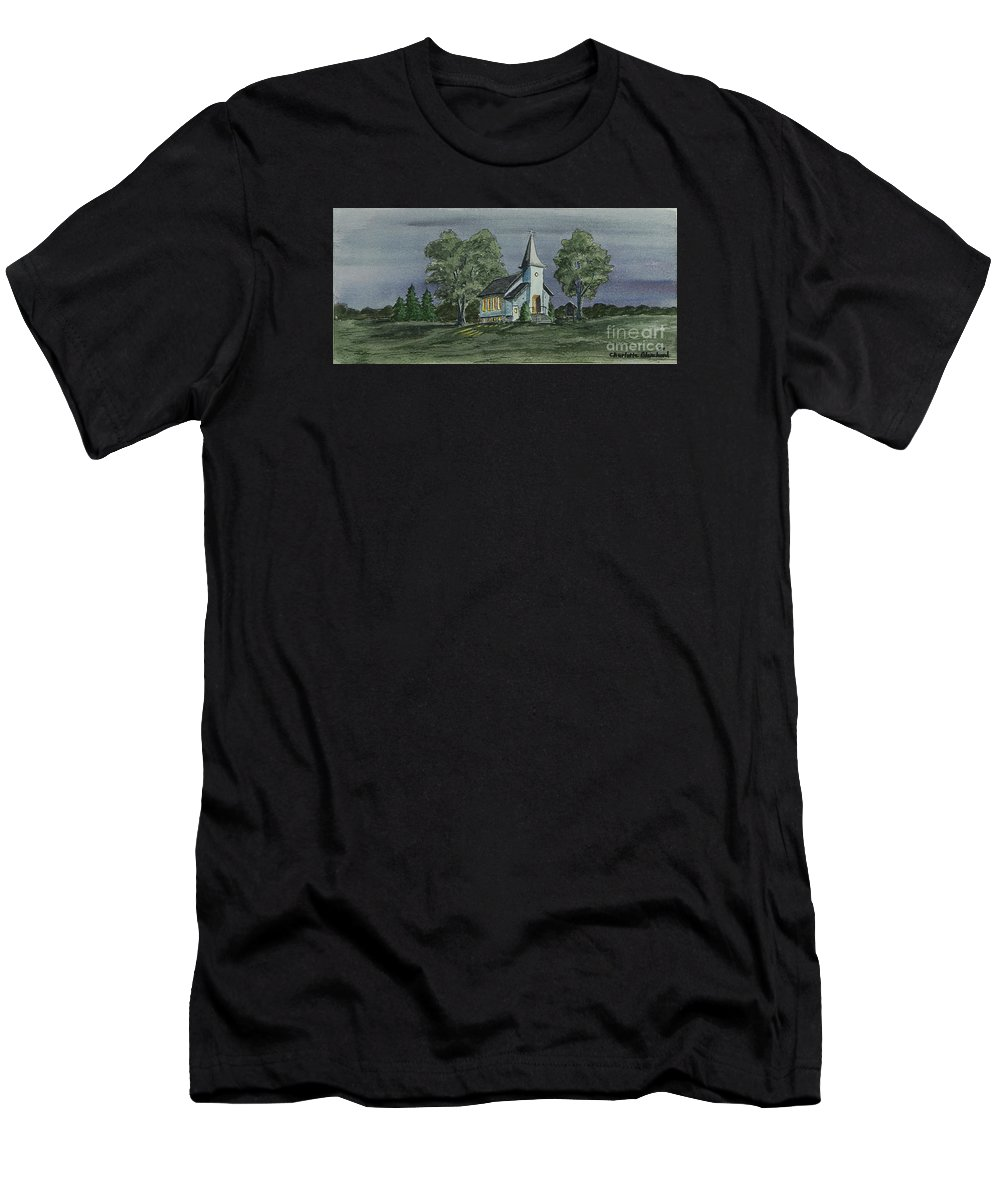 Country Church At Night Men's T-Shirt (Athletic Fit) featuring the painting Country Church On A Summer Night by Charlotte Blanchard