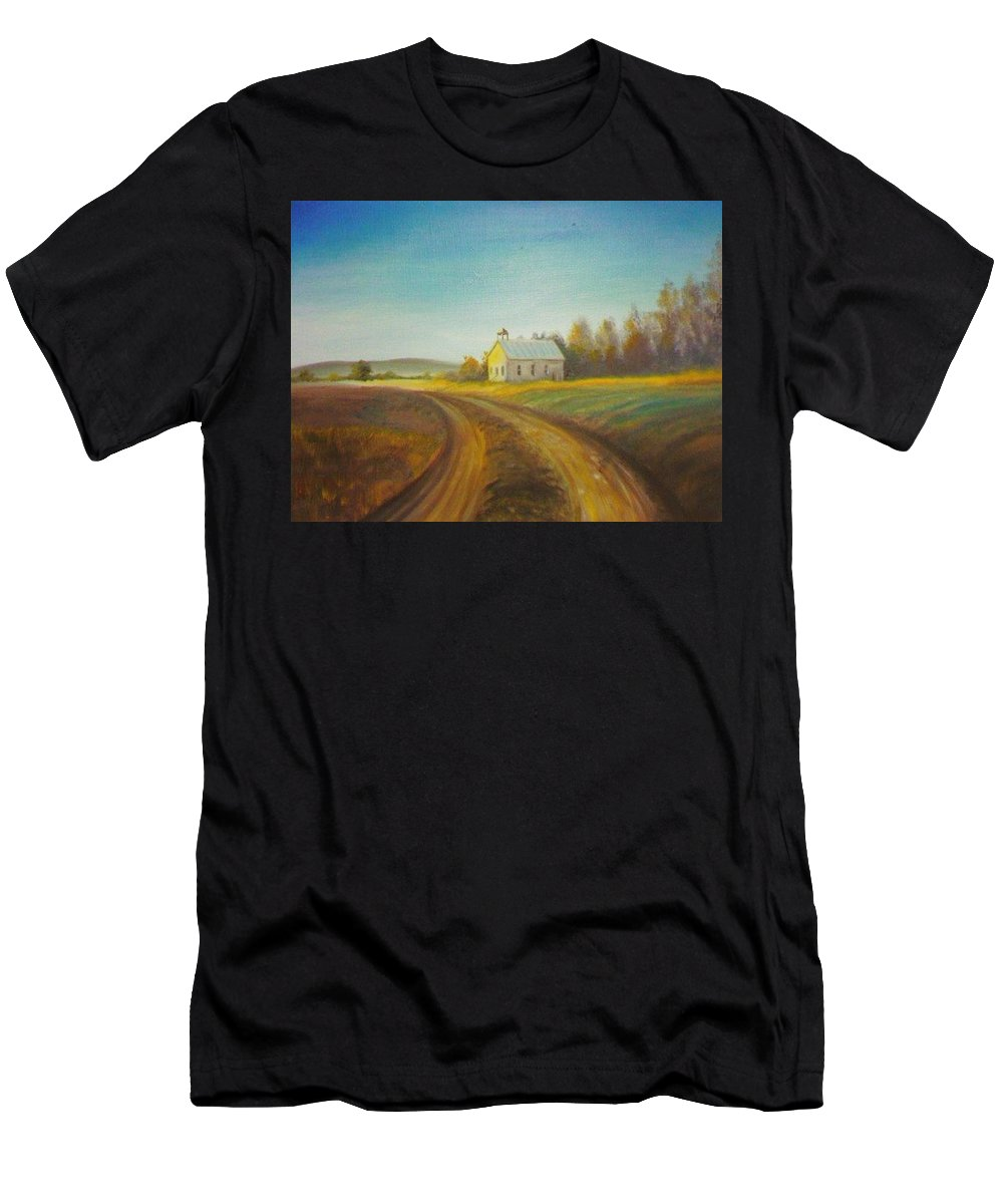 Landscape Men's T-Shirt (Athletic Fit) featuring the painting Country Church by Scott Easom