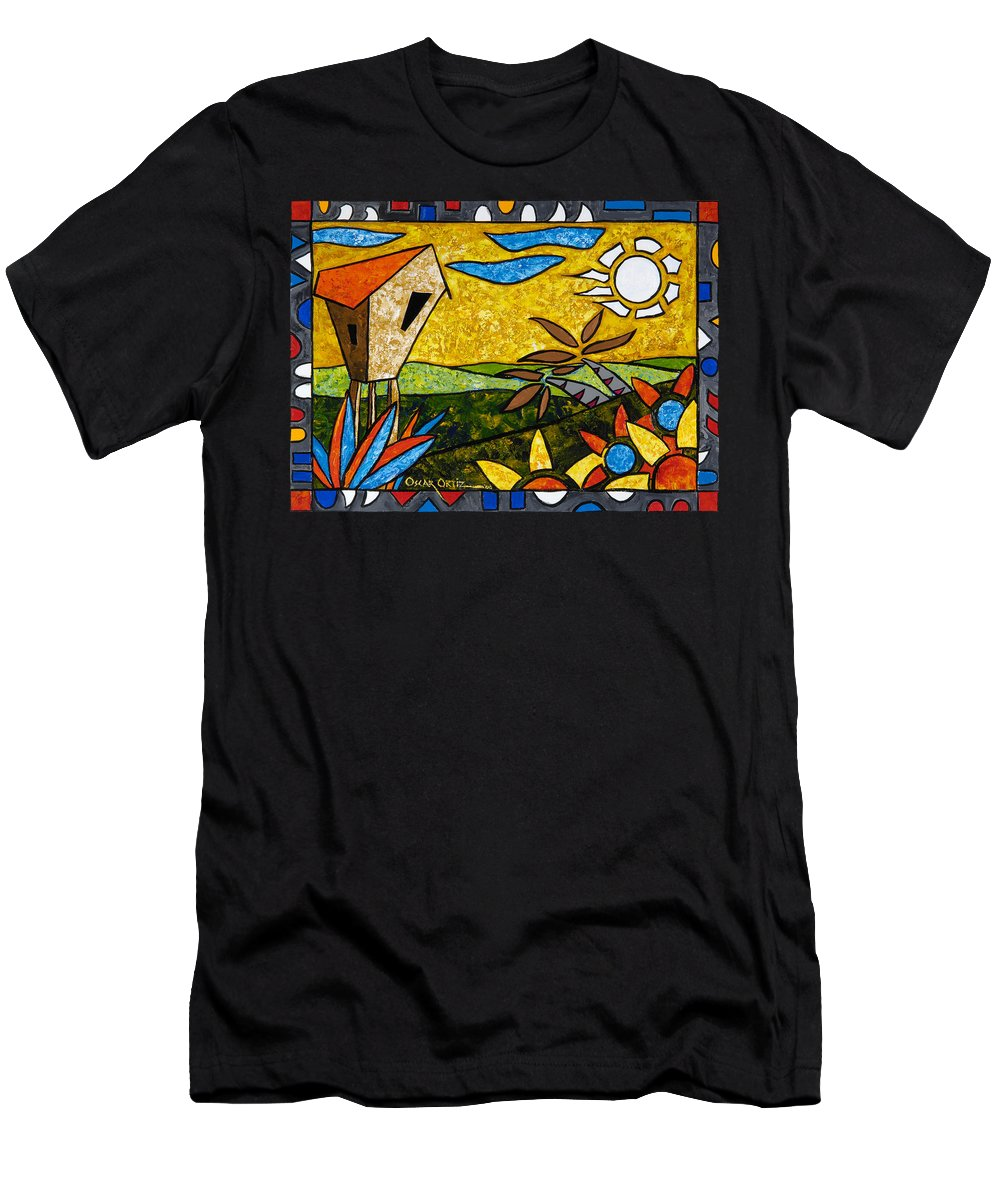 Puerto Rico Men's T-Shirt (Athletic Fit) featuring the painting Country Peace by Oscar Ortiz