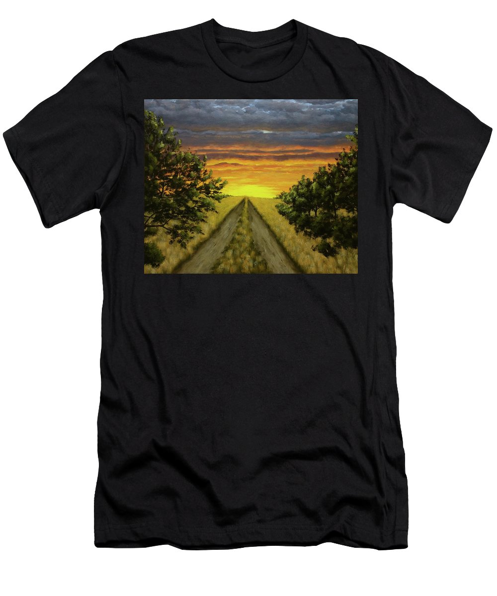Landscapes Men's T-Shirt (Athletic Fit) featuring the painting Country Road by Dan Wheeler