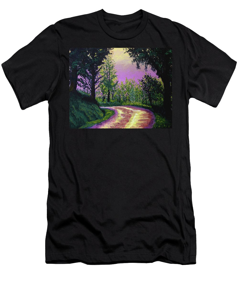 Landscape Men's T-Shirt (Athletic Fit) featuring the painting Country Road by Stan Hamilton