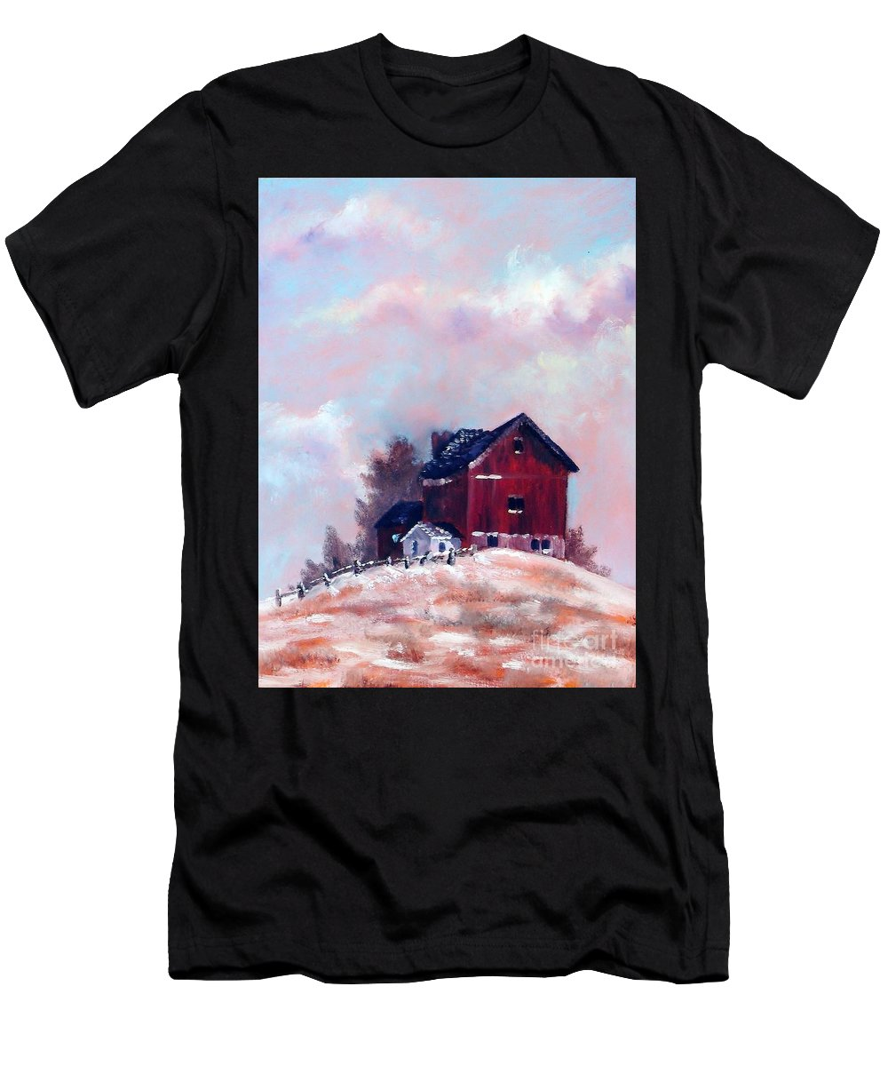 Barn Men's T-Shirt (Athletic Fit) featuring the painting Country Sentinel by K M Pawelec