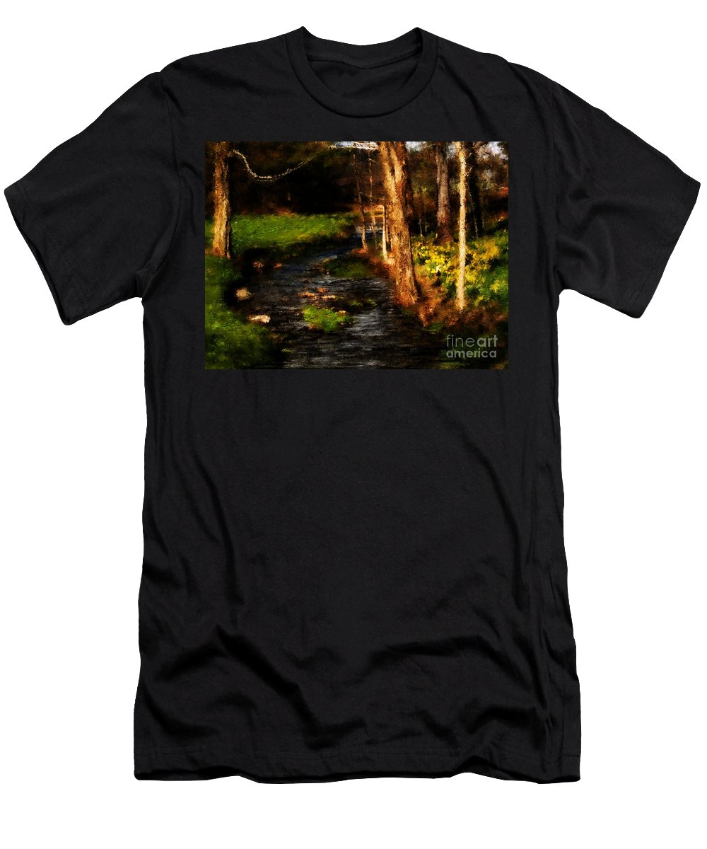 Digital Photo Men's T-Shirt (Athletic Fit) featuring the photograph Country Stream by David Lane