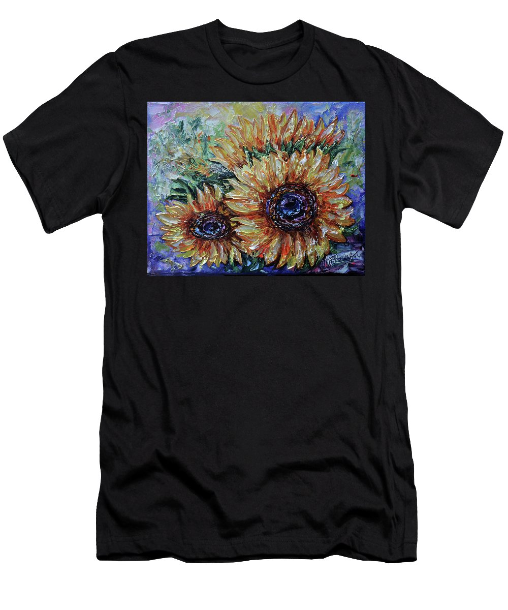 Sunflower Men's T-Shirt (Athletic Fit) featuring the painting Countryside Sunflowers by OLena Art Brand