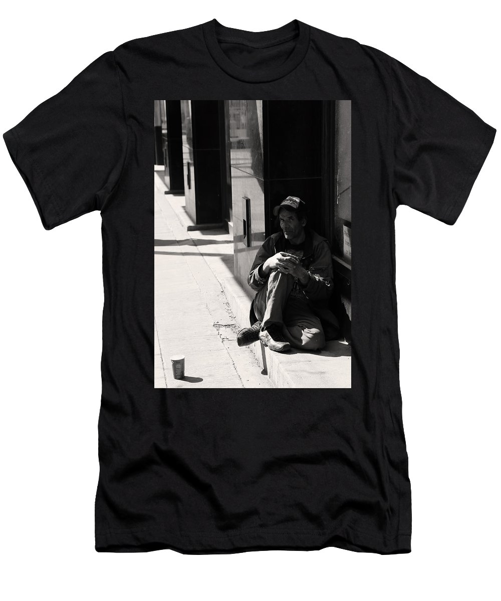 Street Photography Men's T-Shirt (Athletic Fit) featuring the photograph Couple Drops by The Artist Project