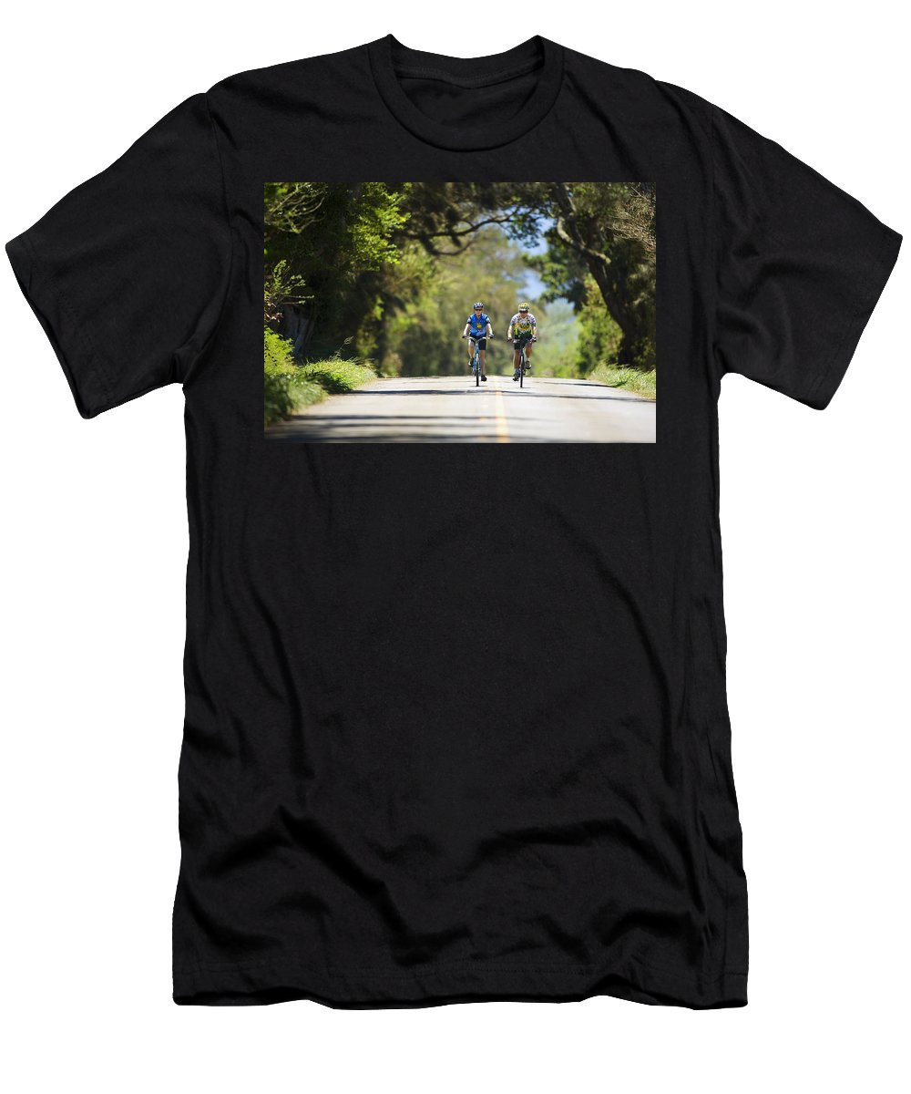 Baby Boomer Men's T-Shirt (Athletic Fit) featuring the photograph Couple Enjoying A Back Road Bike Ride by Ron Dahlquist - Printscapes