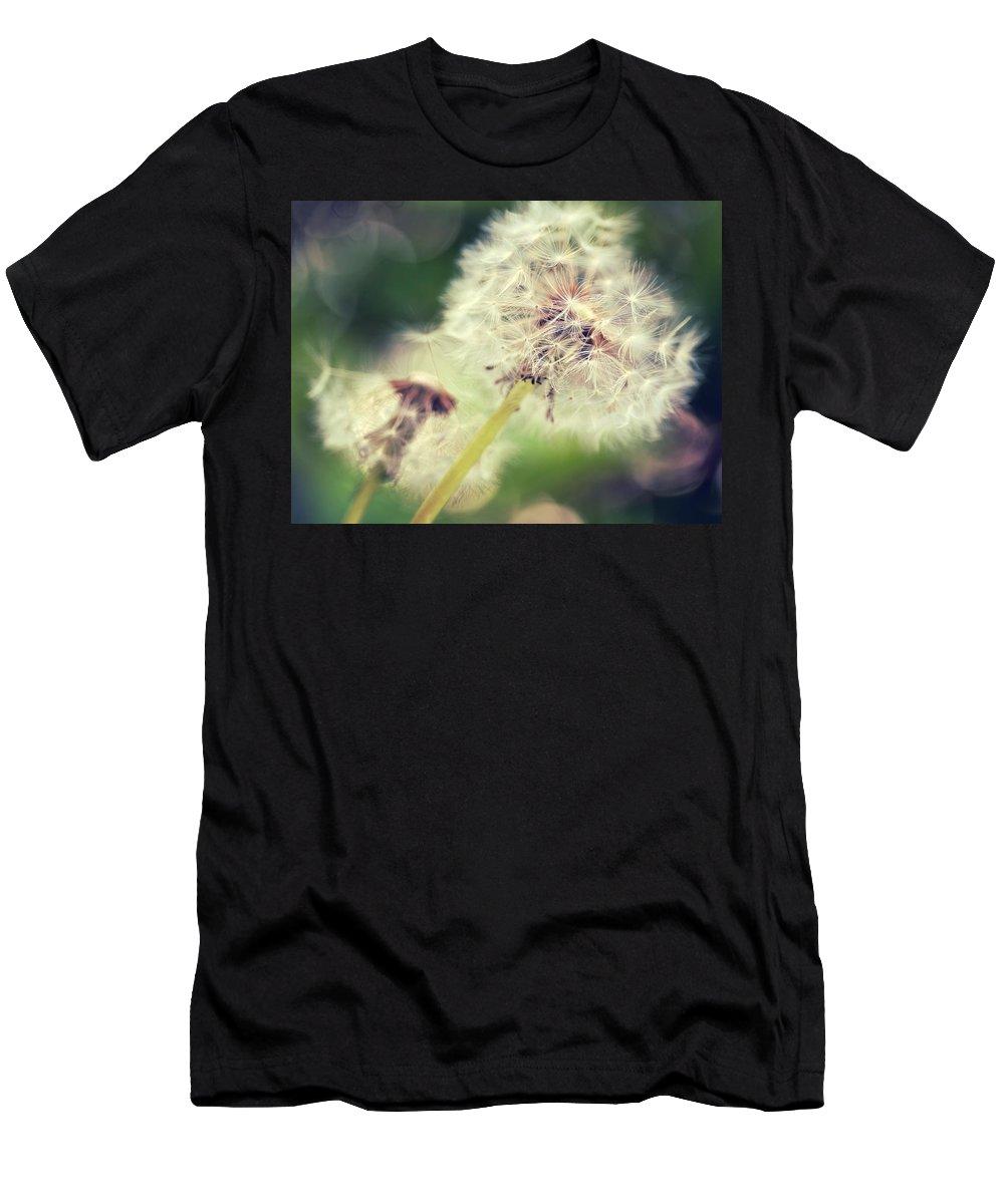 Dandelion Men's T-Shirt (Athletic Fit) featuring the photograph Couple Of Dandelion by Julia Delgado