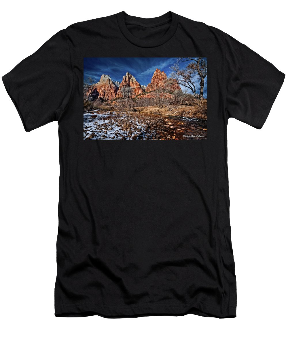 Mountains Men's T-Shirt (Athletic Fit) featuring the photograph Court Of The Patriarchs II by Christopher Holmes