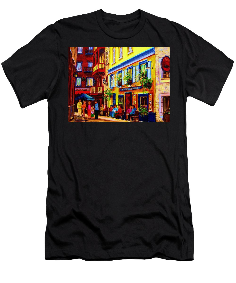 Courtyard Cafes Men's T-Shirt (Athletic Fit) featuring the painting Courtyard Cafes by Carole Spandau