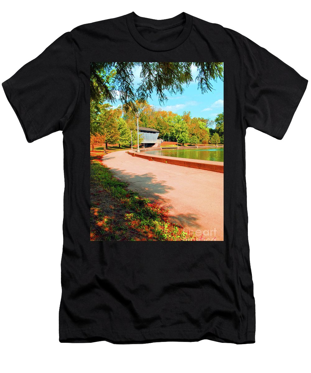Covered Men's T-Shirt (Athletic Fit) featuring the photograph Covered Bridge by Jost Houk