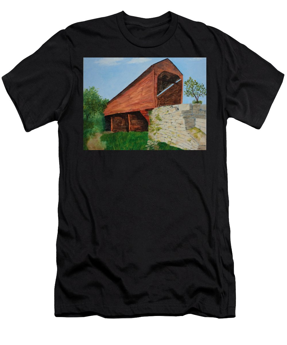 Covered Men's T-Shirt (Athletic Fit) featuring the painting Covered Bridge by Mark Minnich