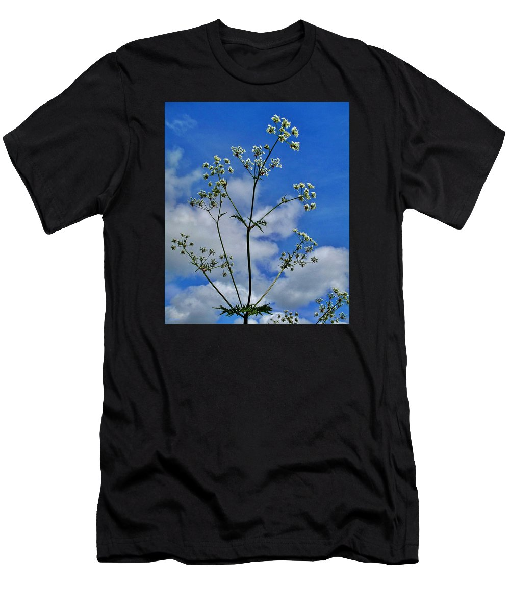 Blossoms Men's T-Shirt (Athletic Fit) featuring the photograph Cow Parsley Blossoms by Martine Murphy