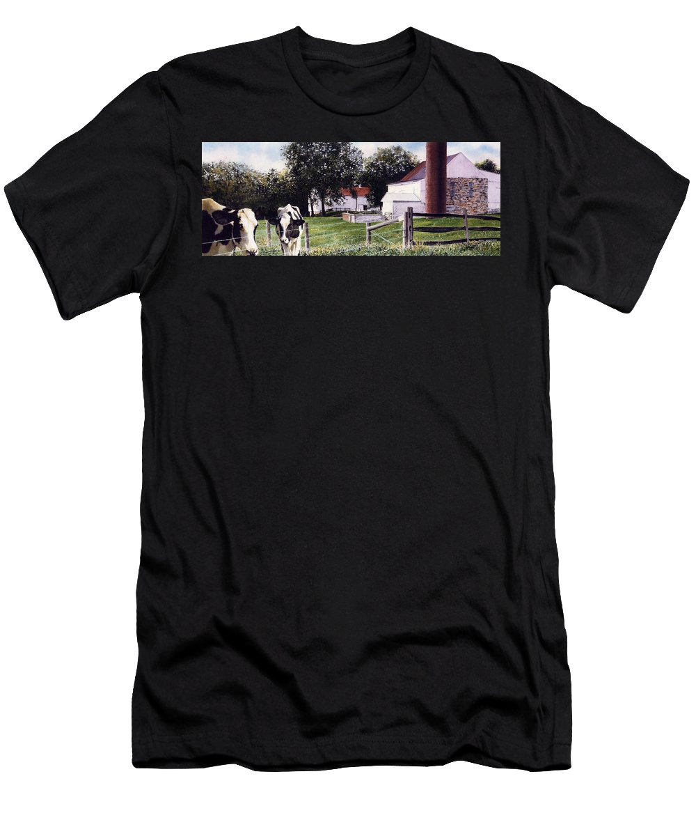 Cows Men's T-Shirt (Athletic Fit) featuring the painting Cow Spotting by Denny Bond